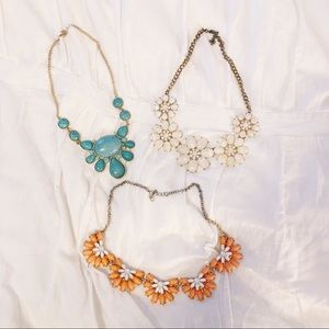 THREE brand new necklaces (coral teal and cream)